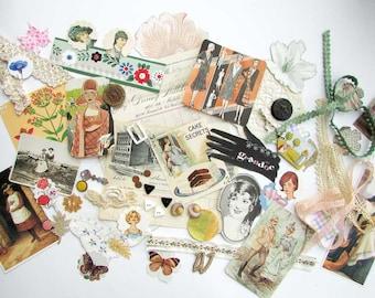 Vintage Ephemera Scrapbook, Collage, Art Works Pack, Vintage Women, 50 + Pieces, All Original Items, Paper Goods, Buttons, Trims,
