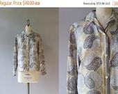 STOREWIDE SALE 1960s Silk Vera Neumann Blouse / Vintage 60s Paisley Yin Yang Blouse / Silk Vera Blouse S/M small medium
