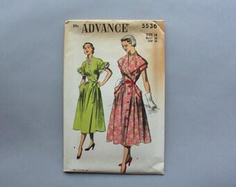 Vintage Pattern / 1950s Wrap Dress Pattern / Uncut Factory Fold Advance Pattern 5536 size 18 36 bust FF