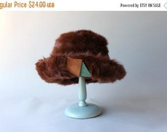 STOREWIDE SALE 1960s Fur Hat / Vintage 60s Hat / Sixties Suede Trimmed Fur Hat