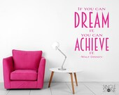 Dream It Achieve It Walt Disney wall decal quote - Vinyl Wall Words