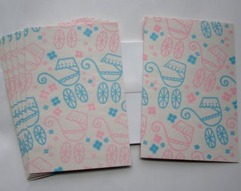 set of 6 handmade note cards stationary made from vintage wrapping paper w baby buggies prams