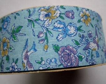 "Vintage spool WFR craft and floral novelty ribbon 1 3/8"" wide starched cotton w blue floral print"