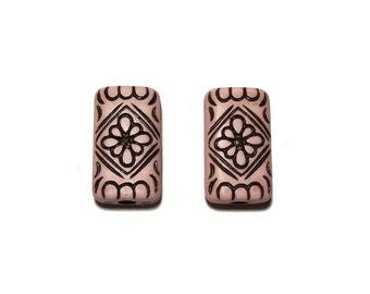 Carved Rectangle Beads Pink with Black design beads 15x25mm