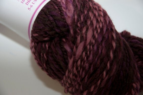 Merino Handspun Yarn in Shades of Burgundy and Pink 100g/234yds