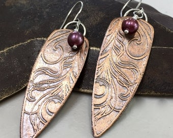 Copper Boho Earrings Textured Metalwork Peacock Feather with Pearl Accents