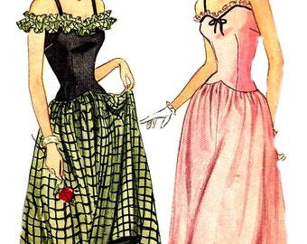 1940s Evening Dress Pattern Simplicity Unprinted Vintage Sewing Long Dress Ruffled Hem Women's Misses Size 12 bust 30 Inches