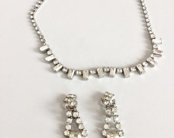 Stunning Vintage Rhinestone Necklace and Earring Set-Bridal-Wedding-Prom-Gift