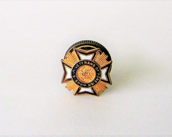 U. S. Veterans of Foreign Wars Vintage Pin, Screw In Style lapel or buttonhole badge, Vintage pin