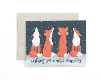 Wishing you a White Christmas Illustrated Card - Boxed Set of 8 // 1canoe2