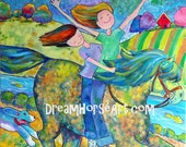 """Children on Pony, """"School's Out"""" original painting, large 30 x 40 canvas, whimsical art by artist M Theresa Brown, Dream Horse Art USA"""
