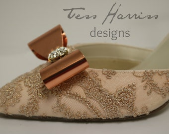 PROMISE .. Blush Lacy Wedding Shoes, Blush Shoes, Rose Gold lace, Mid Heel Bridal Pump , Peach Wedding Shoes