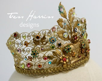 Victoria .. Gold Bejeweled Crown . Bridal Crown .  Wedding Headpiece . Boho Bridal Crown . Boho Headpiece