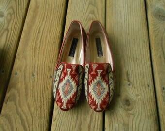 Vtg 90s Oxfords Tribal Kilim Navajo Serape Wool Indian Leather Chevron Southwestern Zig Zag Flamestitch Wool Shoes Boho Slip Ons Flats 7 6.5