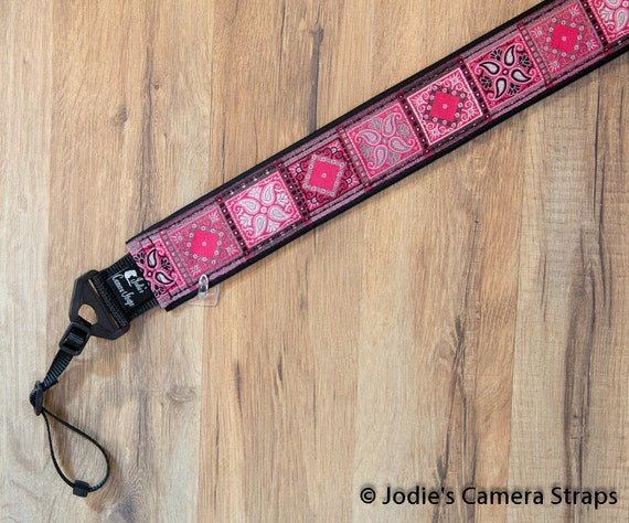 Patchwork Pink Gray Camera Strap 2 in Wide Custom Padded Fits DSLR SLR 5490 5582 6330
