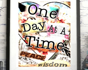 Print,One Day At A Time, Wall Art, Inspirational Gift,Digital Download Painting Gift, Prayer, AA, Wall Decor, Alcoholics Anonymous,