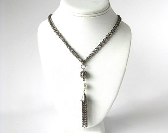 Vintage Chain Link Statement Necklace with Tassel Pendant and Faux Pearl - Silver Tone Metal