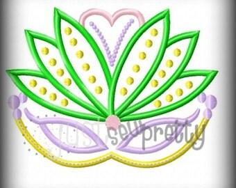 Mardi Gras Pretty Mask 3 Applique Embroidery Design