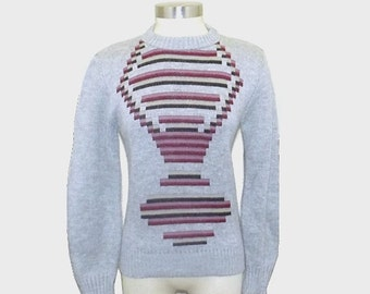 1980s sweater / vintage 80s sweater / extra small xs / Gray Geometric Sweater