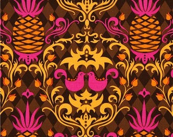 1 FQ  ~ Birdie Damask Brown ~ Andalucia Collection by Patty Young ~ Michael Miller Collection ~ Out Of Print