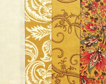 Moda Pre-Cut 24 Block Rail Fence Quilt Kit - Madame Rouge Gold