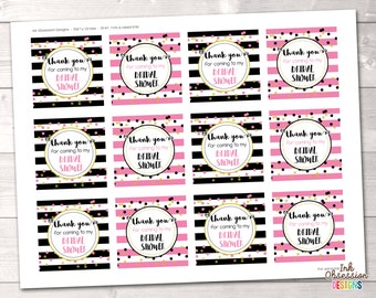 Instant Download Bridal Shower Party Favor Tags or Cupcake Toppers Instant Download Printable PDF Black & Pink Stripes and Polka Dots