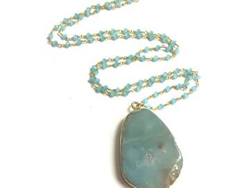 Chalcedony Long Necklace, Amazonite Pendant Necklace, Long Layering Necklace, Long Stone Necklace, Boho Necklace, Long Pendant Necklace