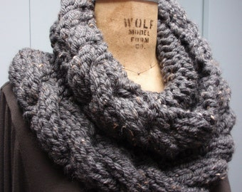 Hand Knit Cable Stitch Cowl in Bulky Yarn Gray