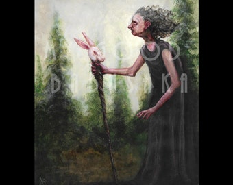 The Witch with the Hare-Headed Walking Stick, Original Painting, White Rabbit, Crone, Baba Yaga, Forest, Fairytale, Folktale, Illustration