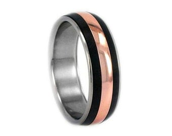 Mens or Womens Rose Gold Ring, Titanium Wedding Band With African Blackwood Inlays, Anniversary or Commitment Ring