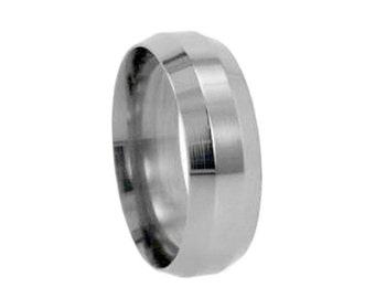 Titanium Ring, Metal Wedding Band With Beveled Edges, Simple Ring For Men or Women