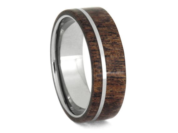 Wooden Wedding Band, Titanium Ring With Black Mesquite and Thin Pinstripe, Handmade Wedding Jewelry