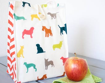 Insulated Organic Cotton Lunch Bag -- Colorful Puppy Dogs -- PLASTIC FREE!
