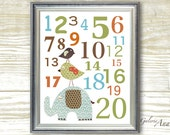 Baby nursery print - childrens art print - kids room decor - Numbers - Elephant - Birds - Best Friends Numbers print