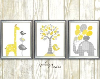 Baby room Decor Yellow and gray nursery Baby boy nursery decor baby girl nursery art elephant nursery giraffe Tree - Set of three prints