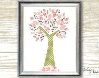 Children art baby nursery decor - nursery wall art - personalized - kids tree - pink - green - girl room - Tree of Inspiration print