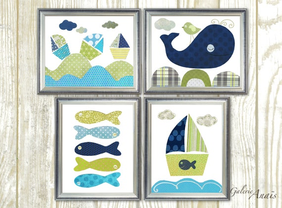 blue and green kids wall art kids room decor baby nursery art. Black Bedroom Furniture Sets. Home Design Ideas