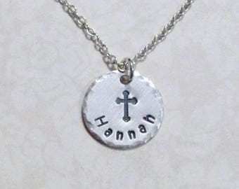 Name with Cross Necklace - Cross Hand Stamped Sterling Silver Charm Necklace - Personalized Cross Necklace