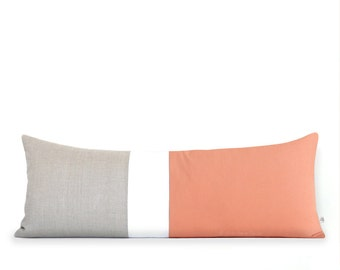 Peach Colorblock Pillow Cover, Bedding, 14x35 Lumbar Pillow, Decorative Pillows by JillianReneDecor, Extra Long Color Block, Cantaloupe