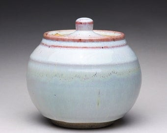 handmade ceramic jar, cookie jar, pottery canister with orange shino and white wood ash glazes
