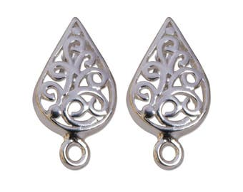 Filigree Post Earrings Sterling Silver 43549 (1 pair), Tarnish Reistant Sterling Silver Earrings, Silver Post Earrings with Clutches