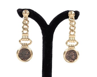 VINTAGE Italian 18K Yellow Gold Antique ANCIENT COIN Dangle earrings non pierced