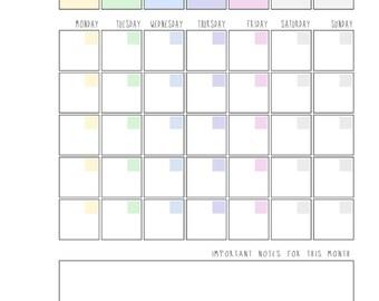 a4 printable calendar, rainbow.