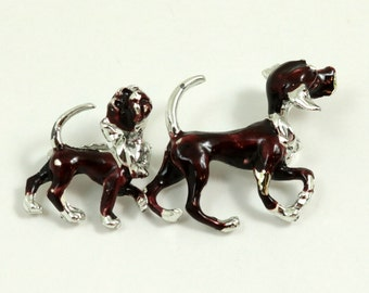 Vintage Pair of Boston Terrier Dog Scatter Pins with Nodding Heads, Nodder Brooches
