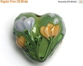 ON SALE 40% OFF Green w/Light Brown Flower Heart Focal Bead - Handmade Glass Lampwork Bead 11805705