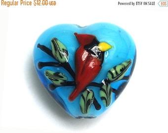 ON SALE 35% OFF Summer Red Cardinal Heart Focal Bead -11834505-Handmade Glass Lampwork Bead