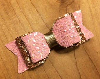 Pink snd Gold Sparkle Bow, Pink Gold Bow, Sparkle bow, bow, glitter bow, glitter, glitter hair bow, pink hair bow