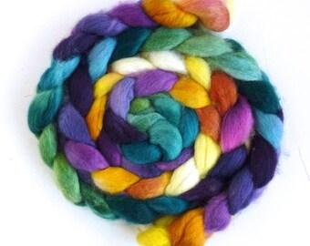 BFL Wool Roving - Hand Painted Spinning or Felting Fiber, Spring Memory