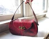 RESERVED   1940's Snakeskin Box Purse Deep Cherry Red Wine WWII Era Vintage Handbag Snake Skin Bag