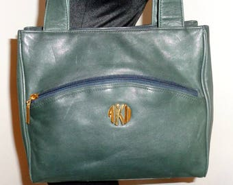 Anne Klein II for Oroton tote , dual strap purse,satchel, bag buttery forest green leather , shoulder bag vintage from 80s